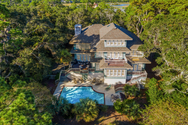 Finding Beautiful Places for Smiling Faces - Find My Porch Real Estate - Beautiful home on Kiawah, SC - aerial view of backyard - Robin Windham - Find My Porch Real Estate